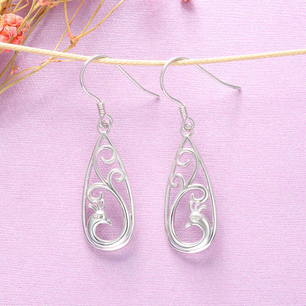 XiaoJing tüy tavuskuşu Hollow Dangle saplama küpe kadınlar için 925 ayar gümüş düğün takısı sevgililer günü hediyeleri