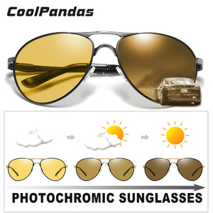 Image 2 - CoolPandas en kaliteli havacılık erkek güneş gözlüğü polarize sürüş fotokromik gündüz gece görüş gözlüğü Pilot gözlük kadınlar UV400