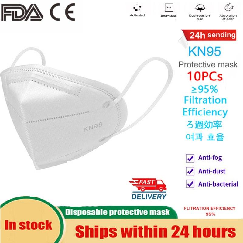 10Pcs Masks KN95 Mask N95 FFP3 Ffp2 Protective Mask Respirator Safety Masks 99% Filtration Dust Particulate Pollution Protection