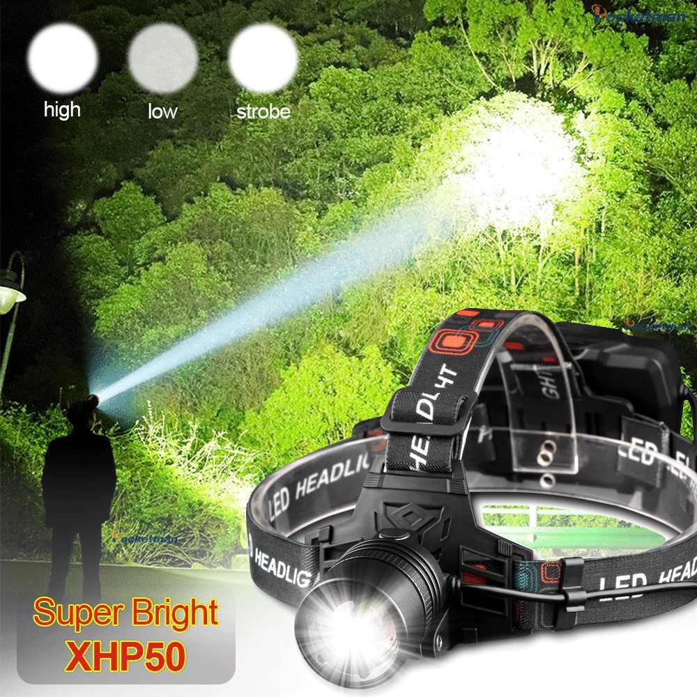 Terang Usb Isi Ulang XHP50 Lampu Depan Lampu Tinggi Kuat Xhp70 Kepala Lampu Obor Zoom Head Light Menggunakan 3*18650 Baterai