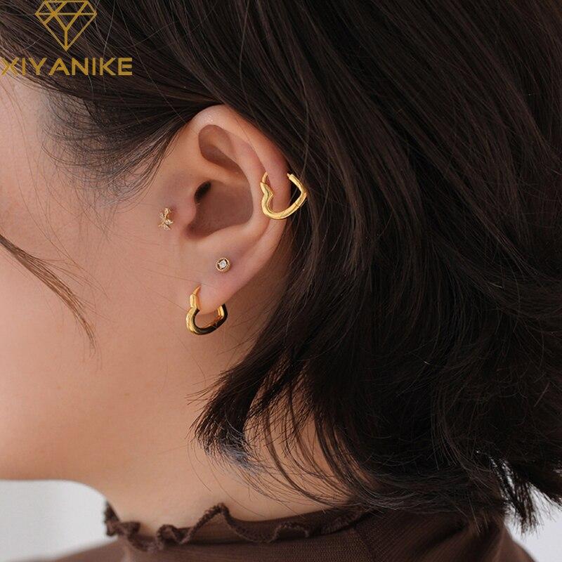 XIYANIKE 925 Sterling Silber Neue Einfache Nette Süße Herz Schnalle Ohrringe Mode Weibliche Heißer Kreis Mode Schmuck