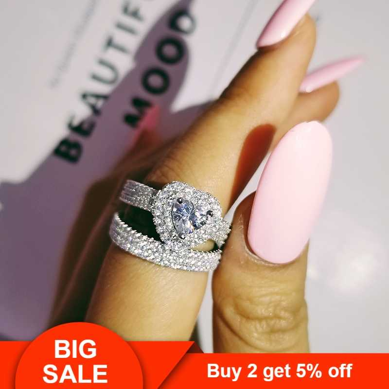 Original 925 sterling silber herz cut zirkon hochzeit ring set für frauen braut engagement Schmuck Band eternity nigeria R4864