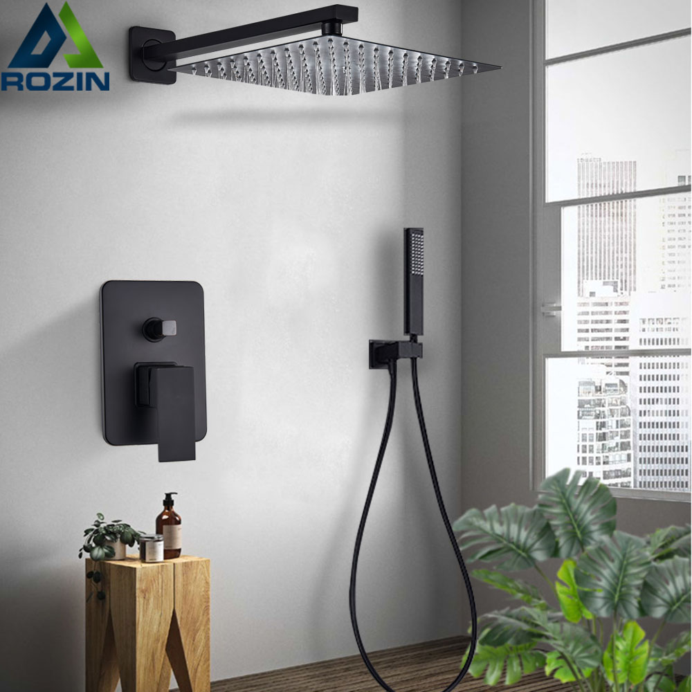 "Black Wall Mount Rain 8/""//10/""//12/"" Shower Head  Mixer Valve Hand Shower Faucet Set"