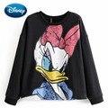 Disney Stilvolle Daisy Ente Cartoon Print Schwarz Oansatz Pullover Süße Frauen Sweatshirt Langarm Harajuku Beiläufige Lose Tops