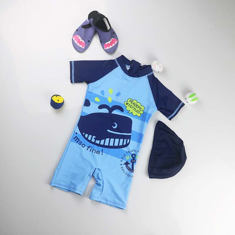 One-piece KID'S Swimwear Foreign Trade South Korea Baby Sun-resistant Quick-Dry Wetsuit Seaside Beach Big Boy Tour Bathing Suit
