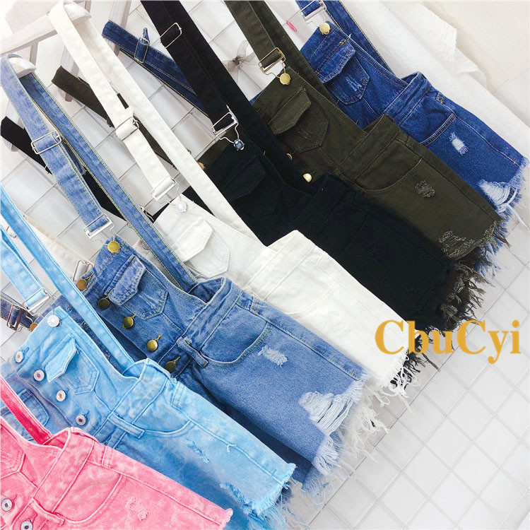 Denim Bibs Schoolgirl 2018 Spring New Loose Korean Thin Thin hole Flashes Fringe Shorts (10)
