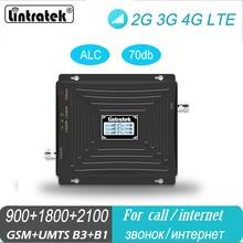 Amplificador de sinal triband lte wcdma gsm 900 dcs 1800 2100 mhz 3 faixas repetidor de sinal impulsionador com máscara facial presente