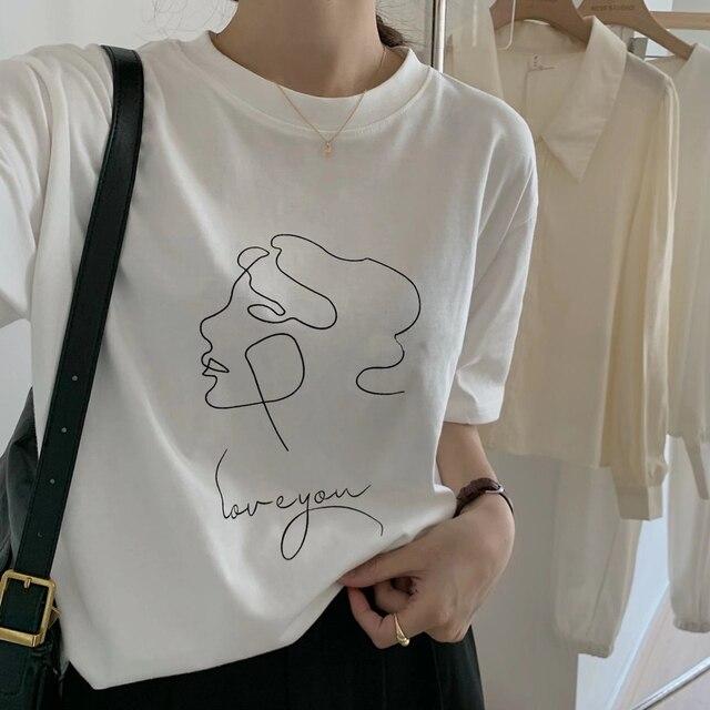 Toppies Thời Trang Trừu Tượng Áo Thun In Người Phụ Nữ Ngắn Tay Áo Thun Mùa Hè Áo Cotton 5