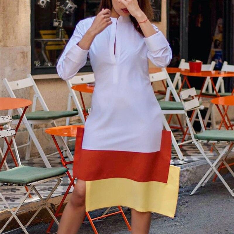 Vestido camisero informal para mujer, Túnica femenina de manga larga con retazos en amarillo y naranja, Túnica de talla grande XL