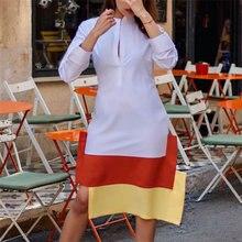 Kobiety dorywczo biała koszula sukienka żółty pomarańczowy Patchwork lato jesień długie rękawy kobiece szaty tuniki Plus rozmiar XL Drop Shipping