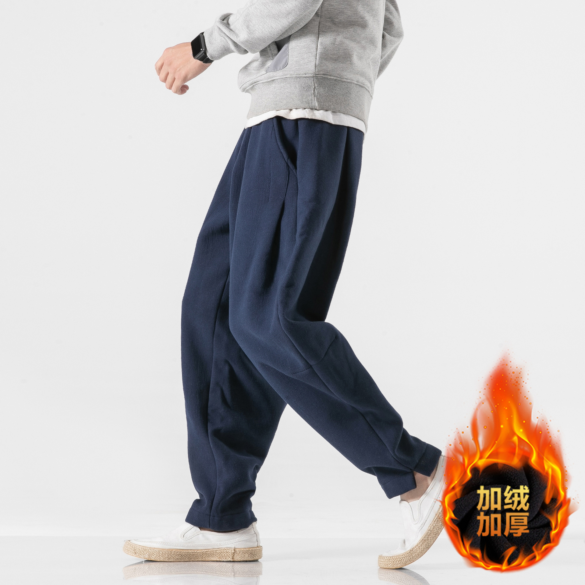 Hong Kong Style Large Size Men Winter Brushed And Thick Casual Pants 20218 Fashion Cotton Linen Harem Elastic Trousers