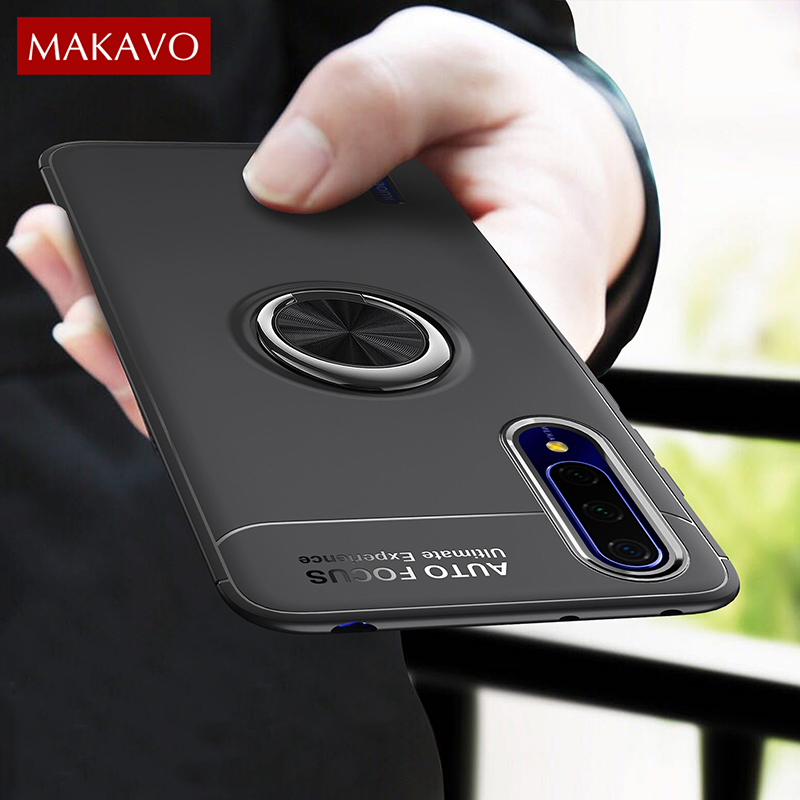 MAKAVO For <font><b>Xiaomi</b></font> Mi <font><b>9</b></font> Lite Case Ring Holder Soft Silicone Matte Back <font><b>Cover</b></font> Case For <font><b>Xiaomi</b></font> Mi9 Lite Phone Cases image