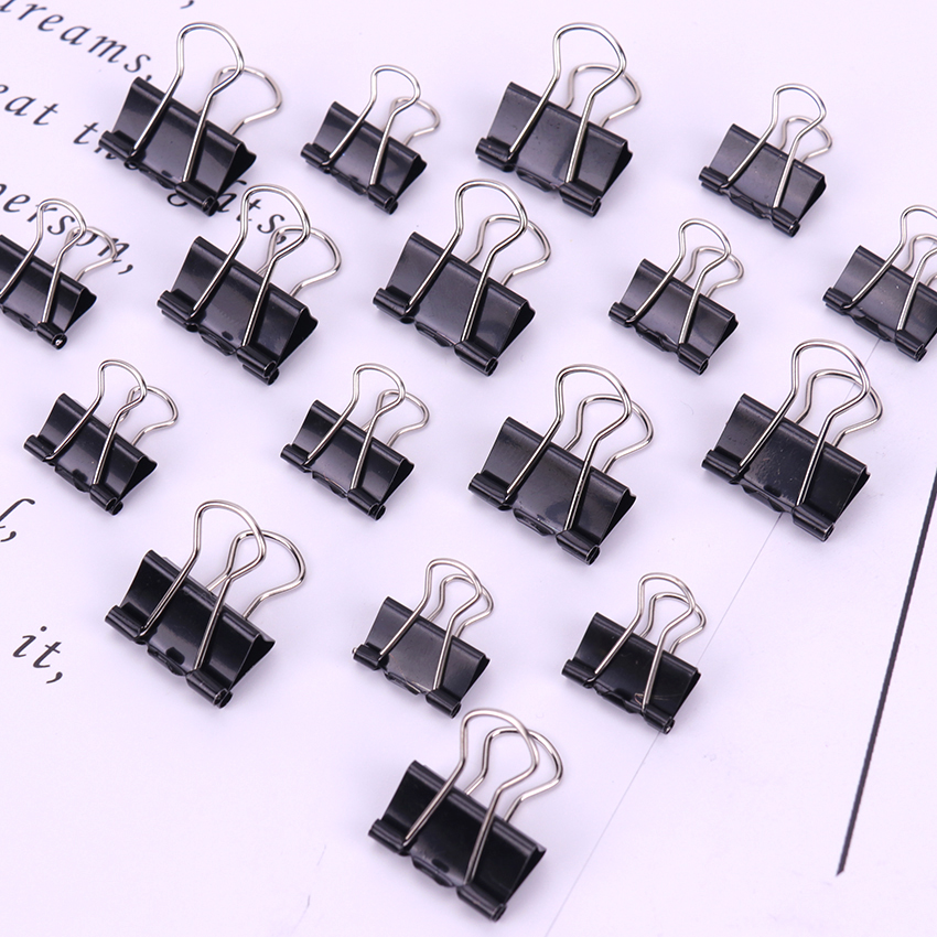 Black Metal Binder Clips Notes File Letter Paper Clip Photo Binding Stationery Accessories Office Supplies 12PCS/Pack 15 19mm