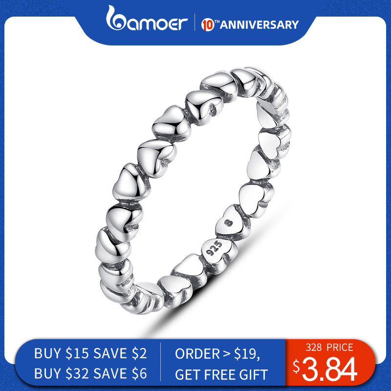 Bamoer Real  925 Sterling Silver Forever Love Heart Finger Ring Original Jewelry Gift GLOBAL SHOPPING FESTIVAL 2019 PA7108