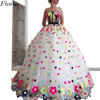 Gorgeous Princess Celebrity Dresses 2019 Long Flowers Strapless Red Carpet Runaway Dress Quinceanera Dress Evening Party Gowns