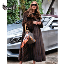 125cm Long Luxury Mink Fur Coats For Women Natural Full Pelt Real Mink Fur Jacket Plus Size Winter Warm Fur Overcoats Woman 2019