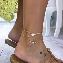 New Women's Anklet Sexy Charm Metal 3 Layer Bohemian Retro Style Stars Elephant Adjustable Beach Anklet 2019 Hot Sale