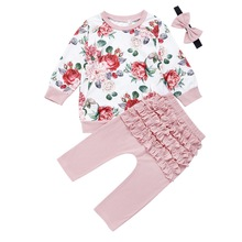 Baby Girls 3Pcs Sets Clothes Floral Long Sleeve Tops And Pant Headband Girl Ruffled Casual Newborn roupa D30