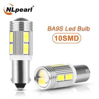 NLpearl 2x Signal Lamp 12V BA9S Led Canbus Super Bright 10SMD 5630 Chips Auto License Plate Light T4W LED T11 Side Lamps White 4pcs car bulb canbus error free ba9s t4w h6w led white 4014 24smd 4 8w led automotive light lamp 12v parking 57 233 w6w t11