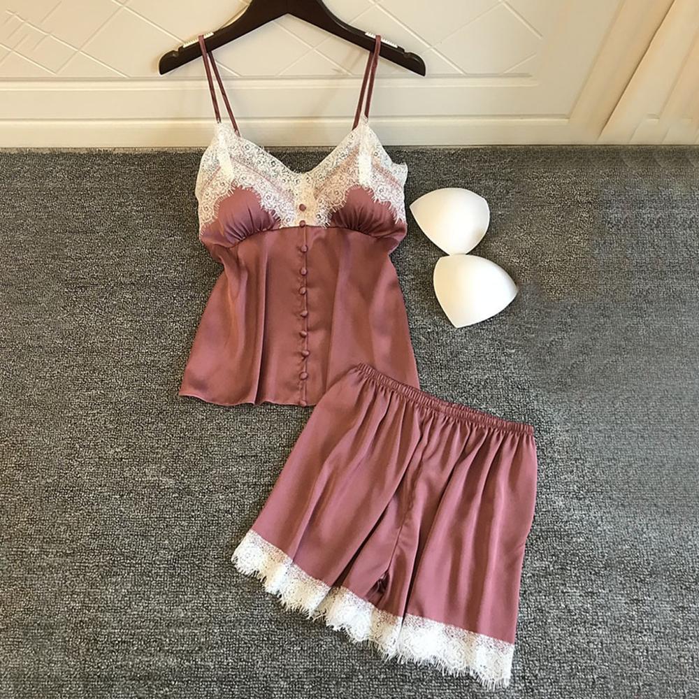 Women's Sleepwear Sexy Satin Pajama Set White Lace V-Neck Pyjamas Sleeveless Cute Cami Top and Shorts 2019 New