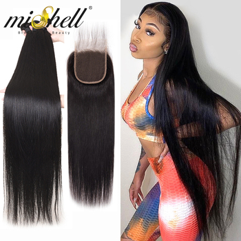 Mishell 28 30 32 34 40 Inch Peruvian Hair Bundles Straight 3 4 Bundles With Closure Human Hair Extensions Wave 4x4 Lace Frontal image