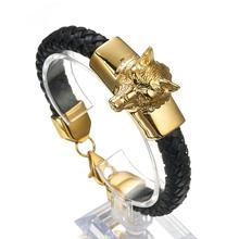 Punk Animal Wolf Head Leather Bracelets For Men Stainless Steel Heads Charm Wrap Bracelet Wristband Jewelry