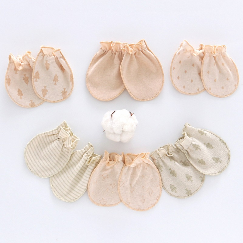 Natural Colored Cotton Newborn Infants Baby All Seasons Four Seasons Breathable Class A Anti Grasping Care Face Constraint Small