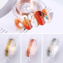 Creative Nail Copper Wire Gold Silver Nail Art Decoration Charm Line Metal Wire DIY Nail Rhinestones Jewelry Manicure Supplies(China)