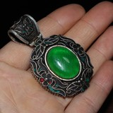Qing Dynasty jadeite silver wrapped pendants pendants jadeite pendants|Statues & Sculptures|Home & Garden - title=