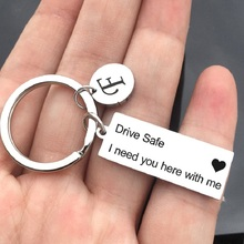 Drive Safe Stainless steel Keychain/Couples Keychain/Engraved Keychain/Lettering A-Z Keychain/Husband Gift/Boyfriend Gift