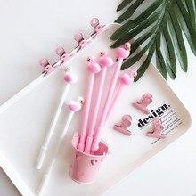Милые красивые Лаки Розовый фламинго Лебеди гелевые ручки, кавайные канцелярские принадлежности ручки материал офисные школьные письменные принадлежности инструмент Новинка