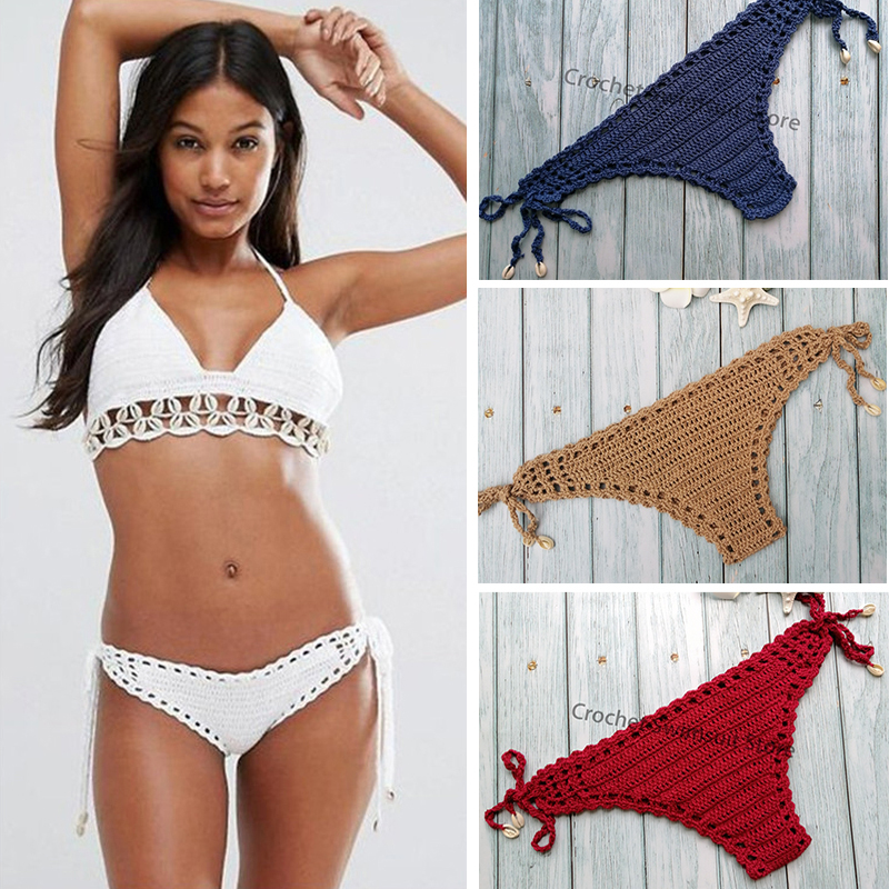 2019 Women Cotton Bikini Bottoms Unique Sexy Crochet Bikini Thong Hollow-out Low Waist Bathing Suit Triangle Briefs Swim Bottoms