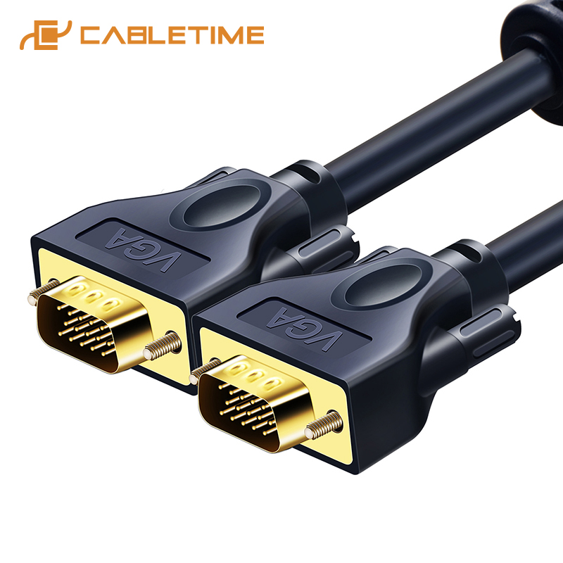 CABLETIME <font><b>VGA</b></font> <font><b>Cable</b></font> 3+9C Braided High Premium Shielding <font><b>VGA</b></font> to <font><b>VGA</b></font> M/M <font><b>15M</b></font> PIN For HDTV PC Laptop TV Extend <font><b>Cable</b></font> C128 image