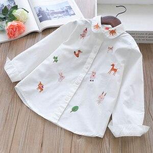 Image 4 - สาวเสื้อแขนยาวสีขาวเสื้อฤดูใบไม้ร่วง 2020 เสื้อผ้าเด็กเสื้อผ้าเด็กหญิง 8 ถึง 12 การ์ตูน fox เย็บปักถักร้อยเสื้อผ้าฝ้ายเสื้อ