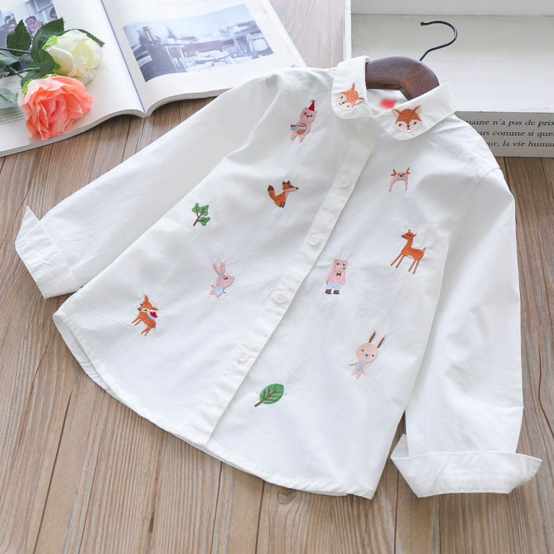Image 4 - Girls Blouses Long Sleeve White Blouse Autumn 2020 Kids Clothes Girls 8 To 12 Cartoon Fox Embroidery Tops Cotton School ShirtsBlouses & Shirts   -