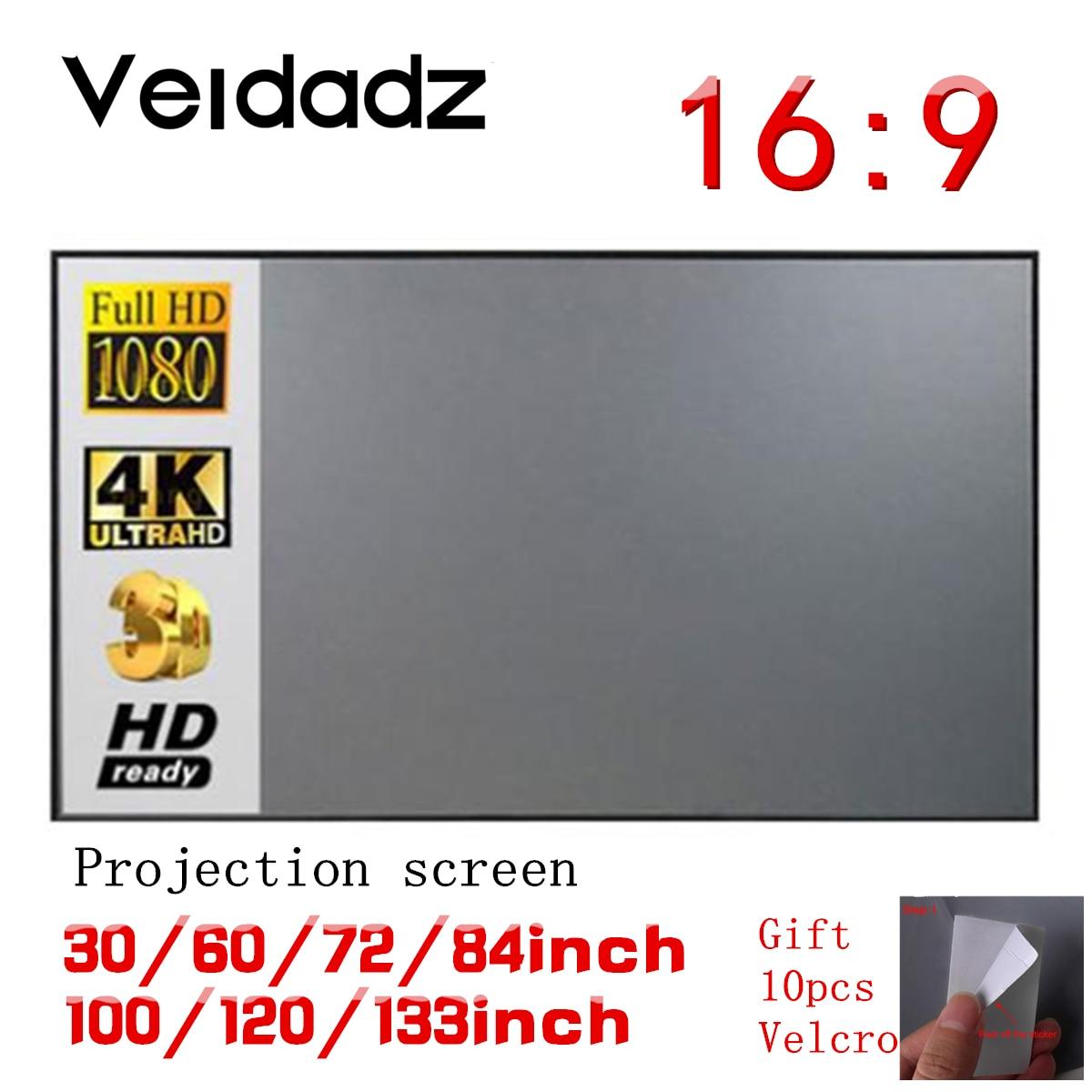 Простая занавеска VEIDADZ с экраном 16:9, 60, 72, 84, 100, 120 дюймов, для дома, улицы, офиса, портативный 3D HD Проекционный экран