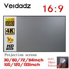 Curtain-Screen Outdoor Portable 16:9-Projector 100-120inch Home 3D 84 HD VEIDADZ 60-72