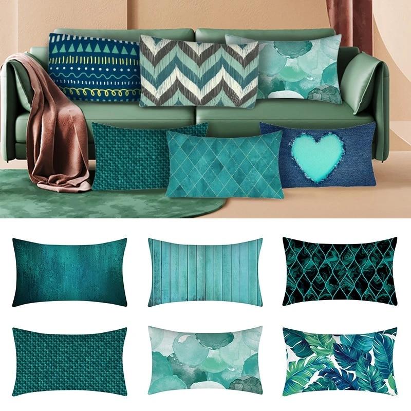 1pc 30x50cm pillow case teal blue cushion cover lumbar pillowcase rectangular protector sofa throw accessories home decor