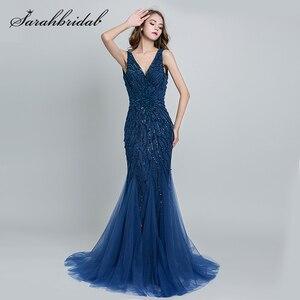 Image 4 - Sexy licou cou robes de soirée dos nu élégant sirène noir violet Satin perles fête robes de bal longueur de plancher longue SD176 5116