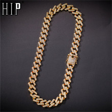 Hip Hop 14MM Full Miami Curb Iced Out Zircon Paved Rhinestones Cuban Chain Bling Rapper Necklaces For Men Jewelry