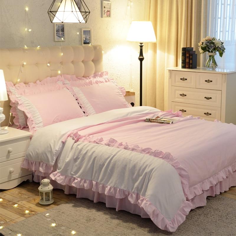 1.5/1.8/2.0m Home Bedroom Bedding Set Duvet Cover Pillow Cases Sheet Four Pieces Set Sweet Princess Style 3