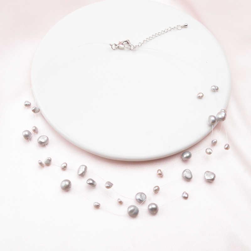 Ashiqi multicamadas branco natural barroco pérola gargantilha colar para as mulheres estilo simples artesanal diy festa de casamento jóias presente