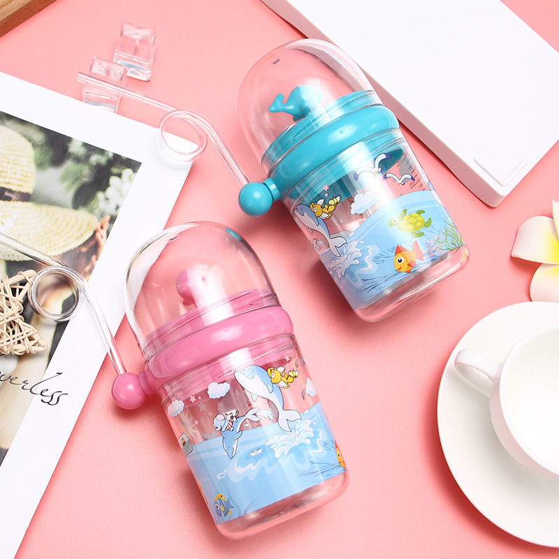 250ML Water Bottle Infant Cup Children Whale Sprays Water For Baby Play Learn Feeding Juice Milk Bottles Kids Cups With Straws