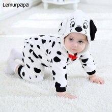 بدلة للأطفال الرضع رومبير دالماسية مطبوع عليها رسوم كرتونية للأطفال الأولاد والبنات زي الكلب حيوان بدلة للأطفال حديثي الولادة ملابس Kigurumis