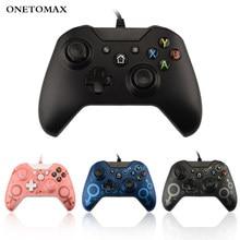 Controle usb com fio para jogos de xbox one, controlador para ganhos 7 8 10 microsoft xbox one vibração dupla, vibração