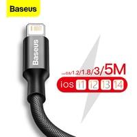 Cable USB Baseus para iPhone 11 Pro Max X XR XS 8 7 6 6s 5 5s cargador de datos rápido iPad Cable de Cable USB Cables de teléfono móvil