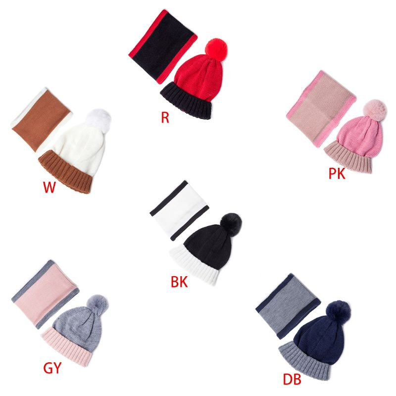 Toddler Kids Winter Pompom Contrast Color Beanie Hat Scarf Set Children Boys Girls Outdoor Thickened Neck Warmer 3-13T