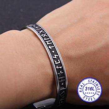 Real 316l Stainless Steel Viking Nordic Rune Bangle Never Fade  Viking Bracelet