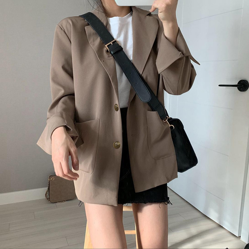 Womens Blazers Long Sleeve Elegant Office Lady Jackets And Coats  Fashion 2019 Solid Female Black Outerwear Tops