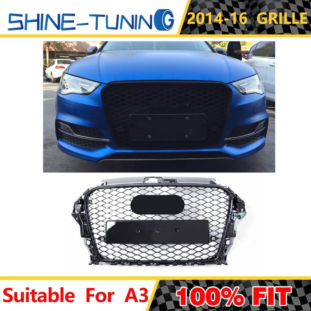 Решетка для переднего бампера автомобиля, решетка для Audi A3/S3 8V 2014 2015 2016 (установка для RS3 Style), решетка для переднего бампера автомобиля